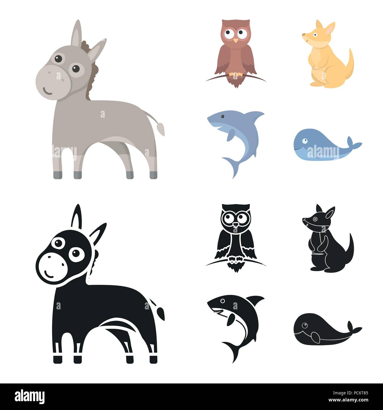 Donkey, owl, kangaroo, shark.Animal set collection icons in cartoon,black style vector symbol stock illustration . - Stock Image