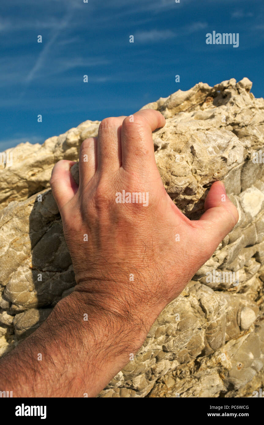 hand of a climber - Stock Image