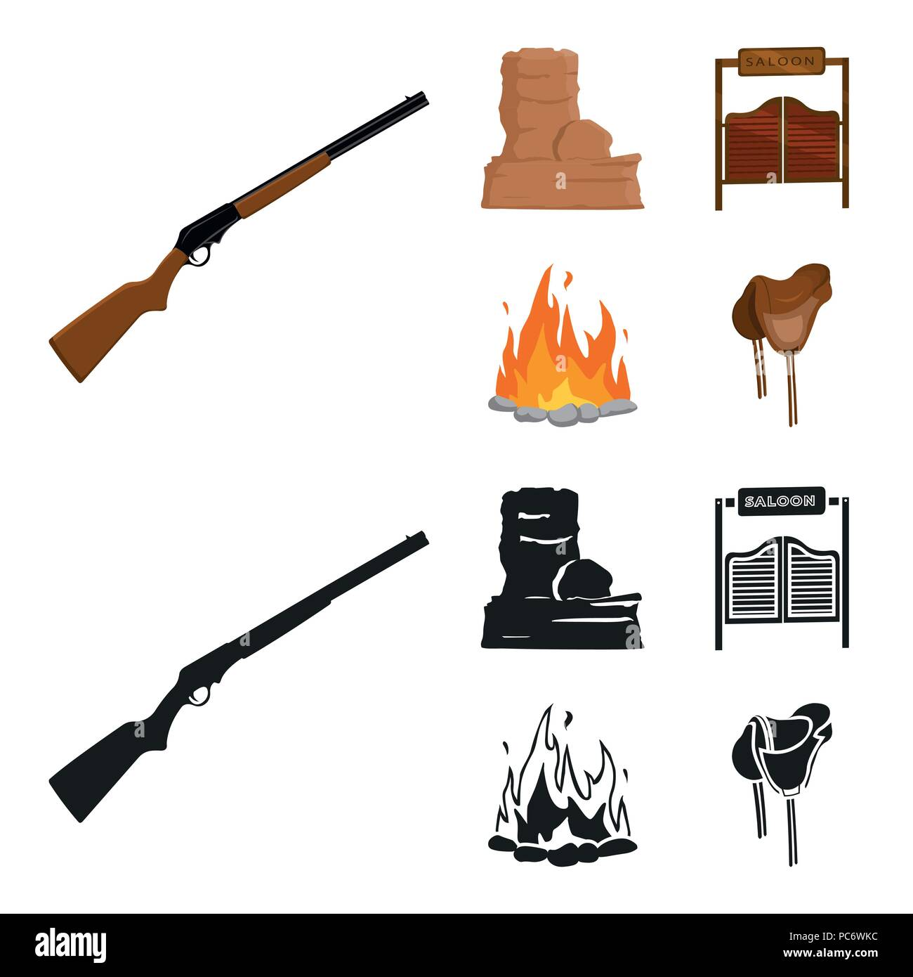 Winchester Saloon Rock Firewild West Set Collection Icons In