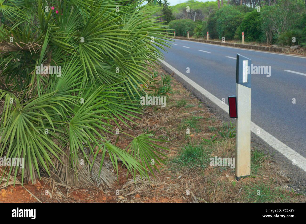 road edge marker,reflective post, Sardinia, Italy Stock Photo