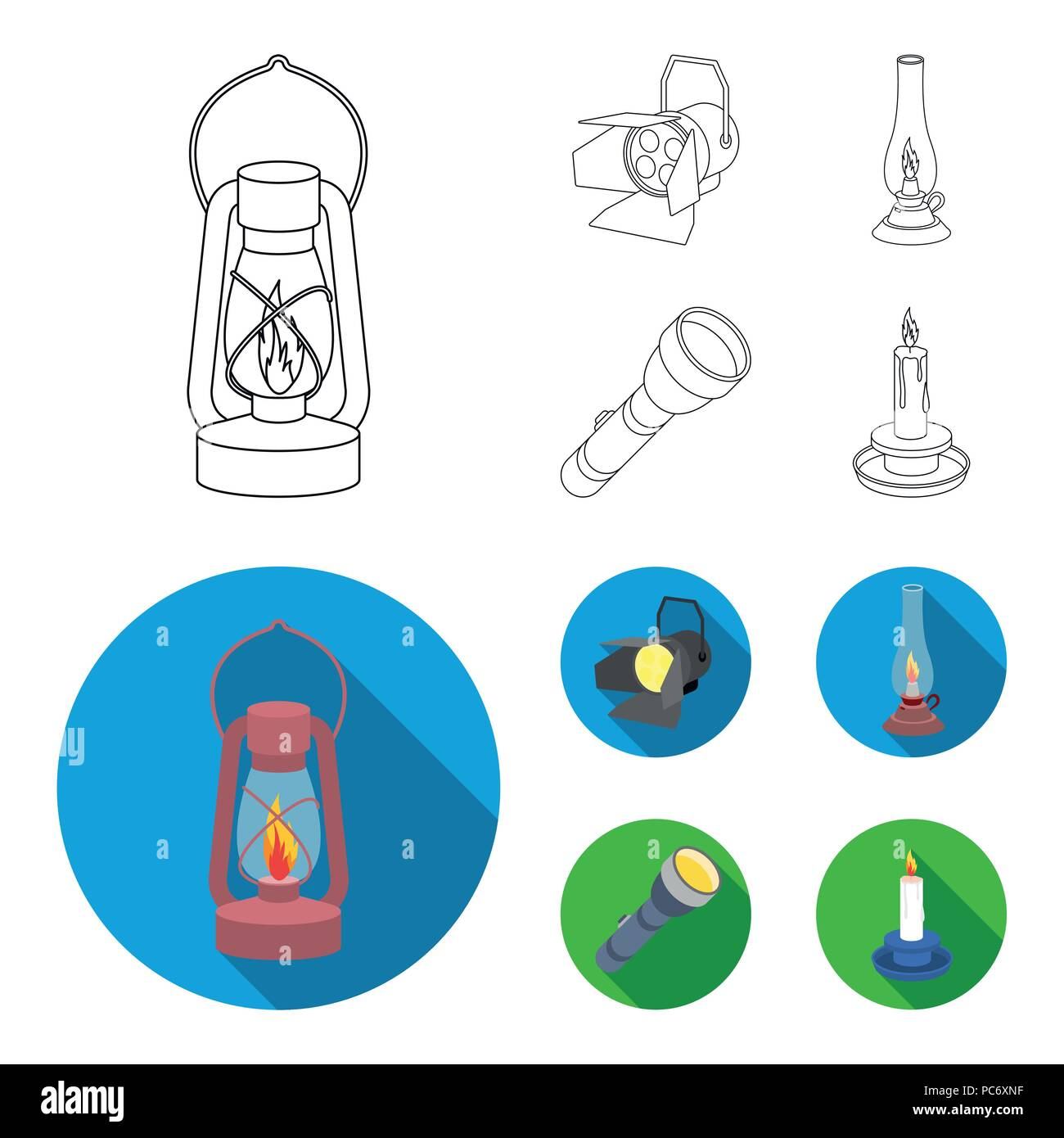 Searchlight, kerosene lamp, candle, flashlight.Light source set collection icons in outline,flat style vector symbol stock illustration . - Stock Image