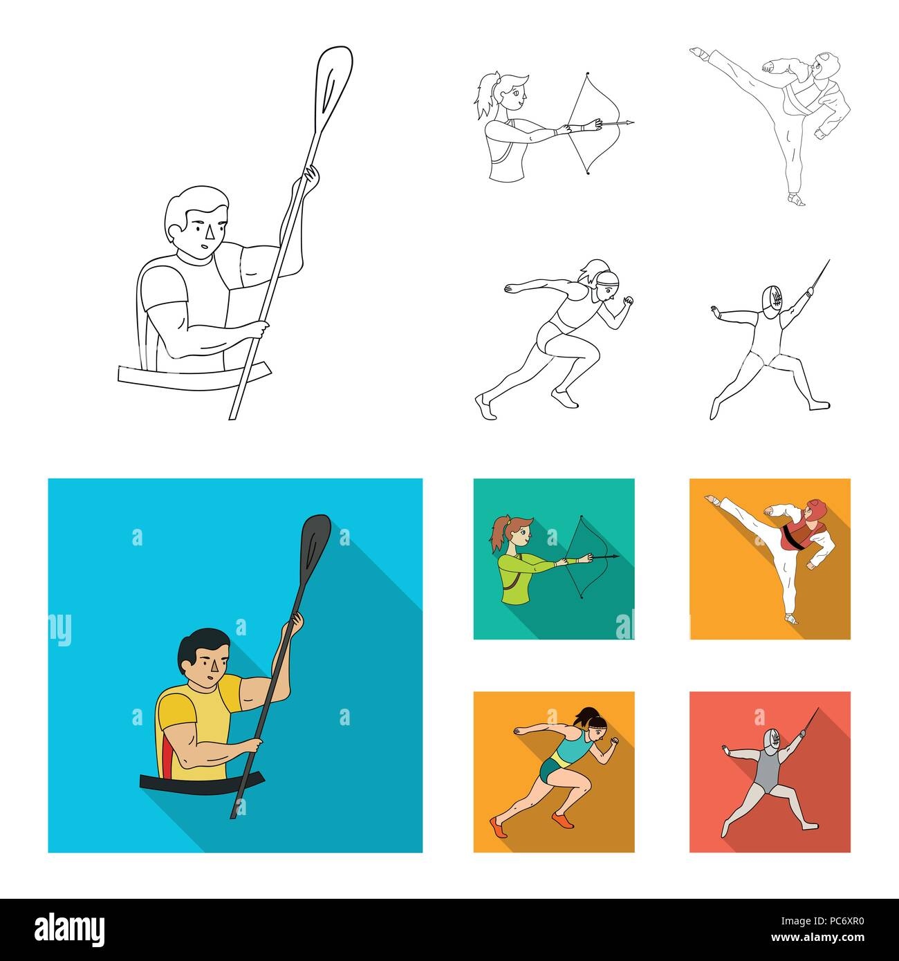 Archery, karate, running, fencing. Olympic sport set collection icons in outline,flat style vector symbol stock illustration . - Stock Vector
