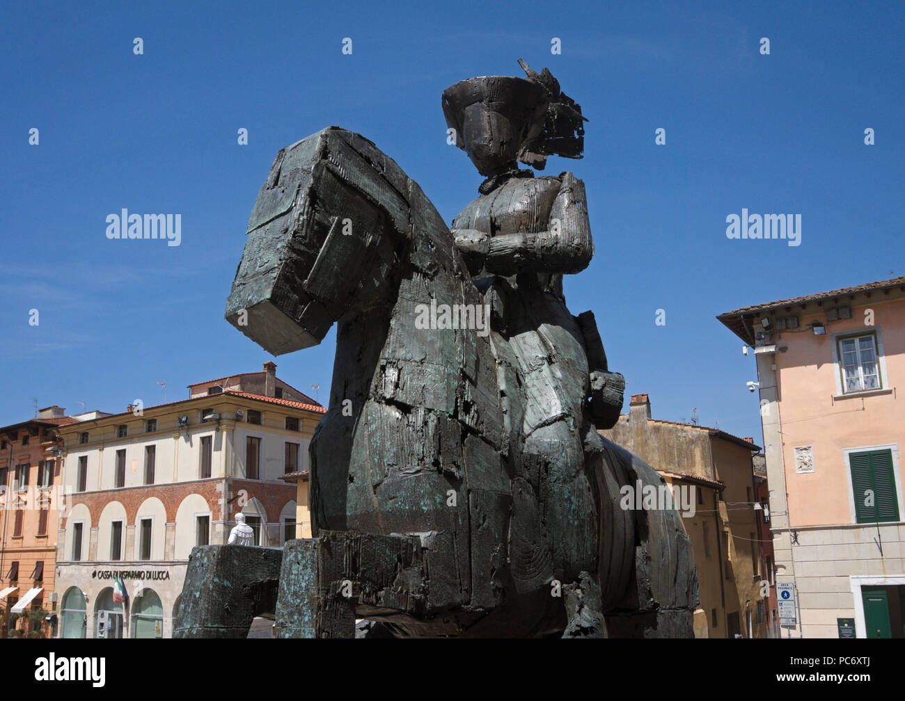 "the bronze sculpture ""Caballero"" by Manolo Valdes in Pietrasanta, Tuscany, Italy Stock Photo"