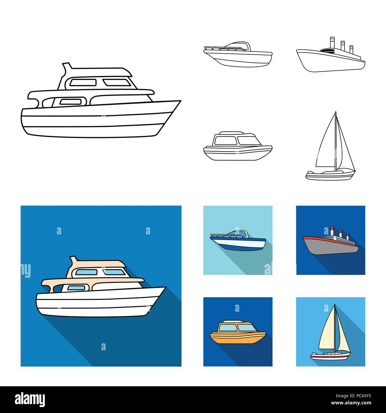 Protection boat, lifeboat, cargo steamer, sports yacht.Ships and water transport set collection icons in outline,flat style vector symbol stock illust - Stock Vector