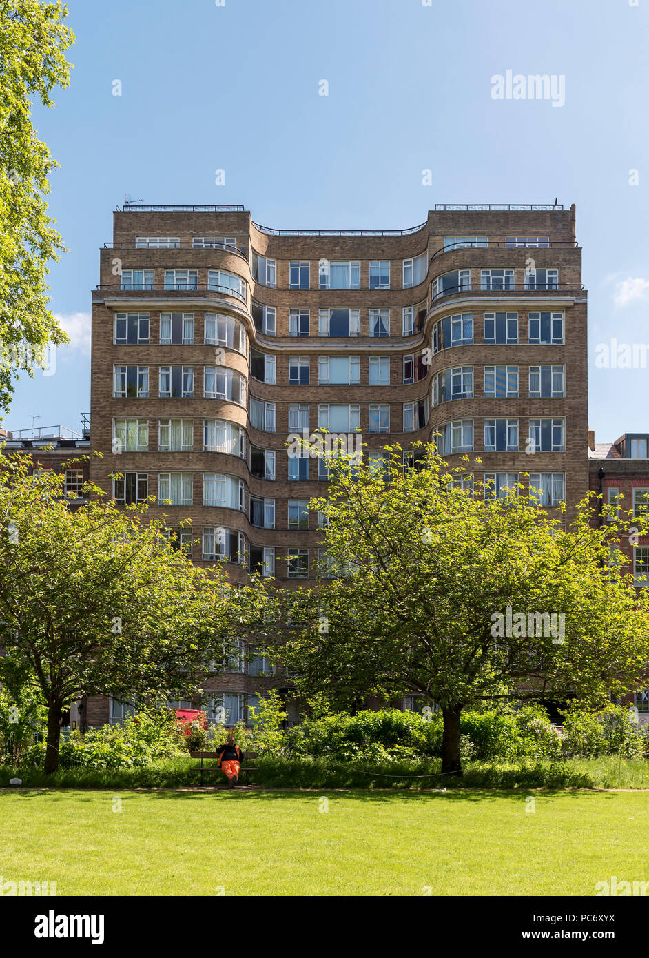 Art deco residential building Florin Court aka Whitehaven Mansions residence of Hercule Poirot,  Charterhouse Square, London, England, UK - Stock Image