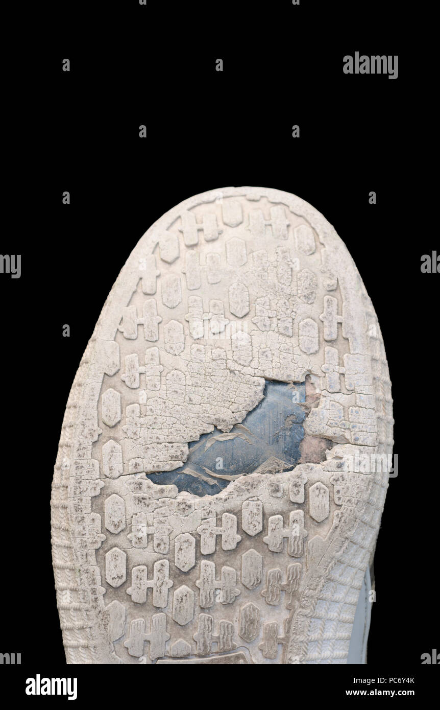 worn out rubber sole - Stock Image