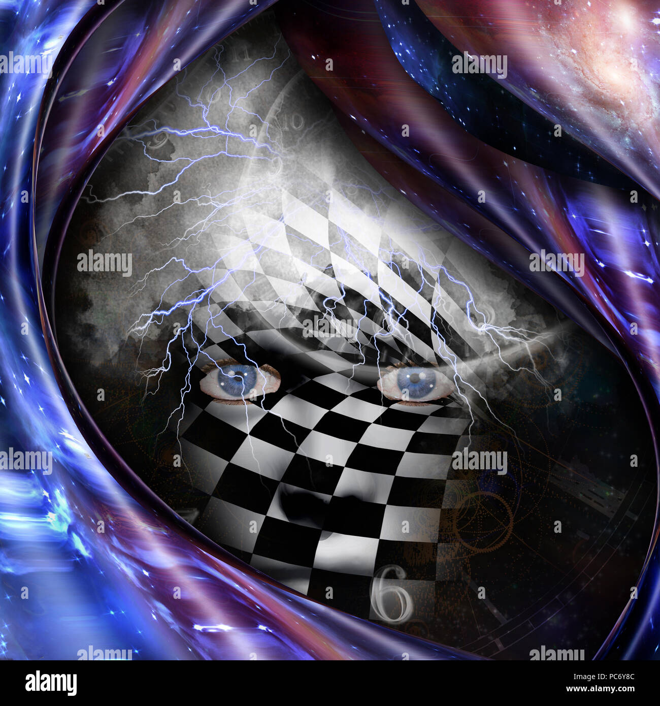 Surrealism and symbolism. Time spirals and checkered face. 3D rendering - Stock Image