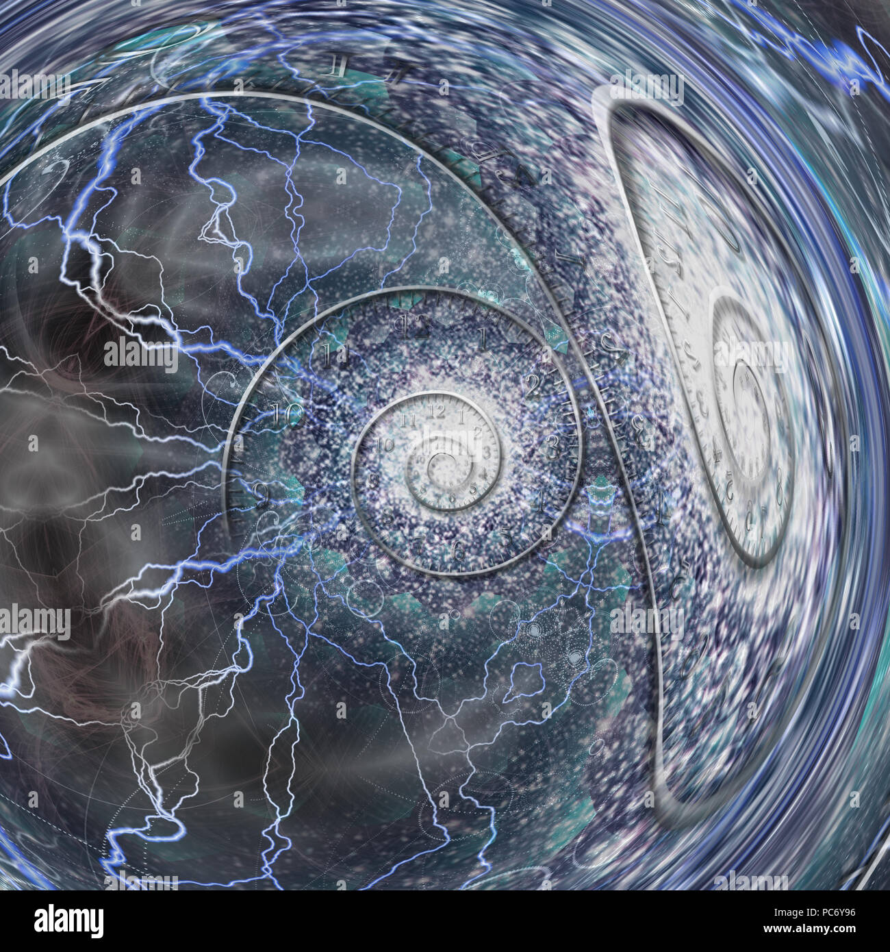 Spiral of time. 3D rendering - Stock Image