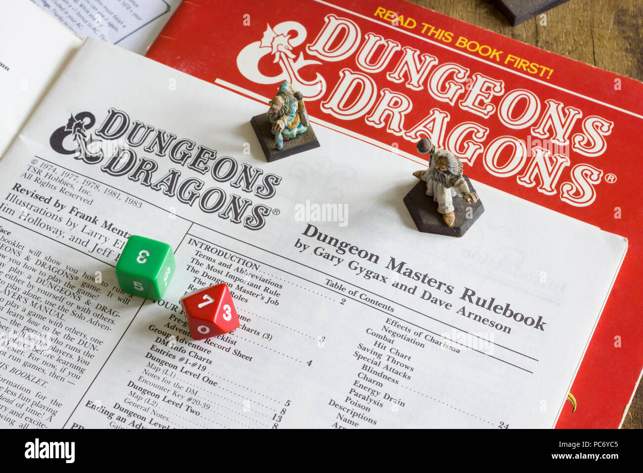 Dungeons and Dragons dungeon masters rule book published as part of a D&D game pack in 1983. The game was designed by Gary Gygax and Dave Arneson - Stock Image