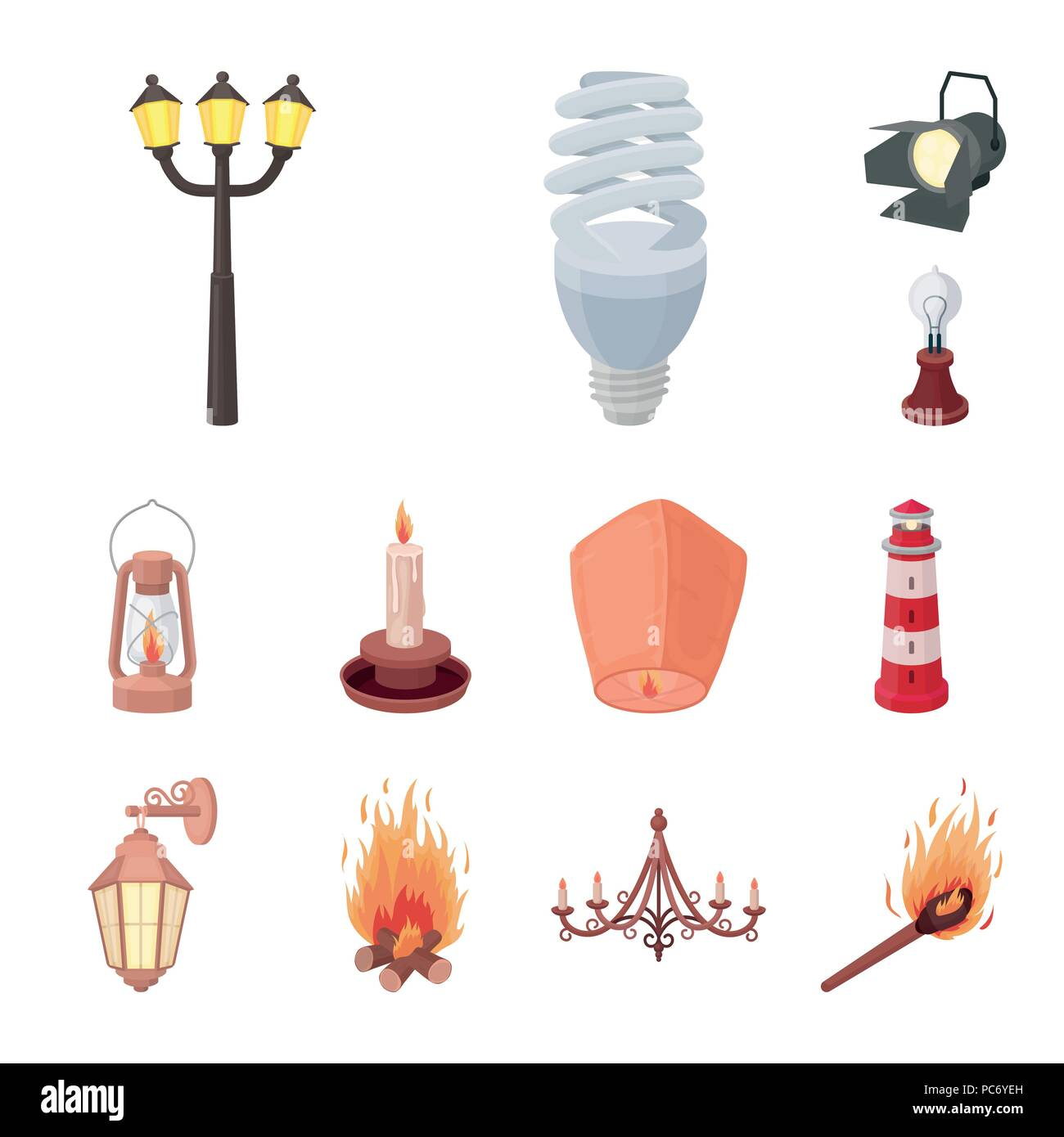 Light Source Cartoon Icons In Set Collection For Design Light And