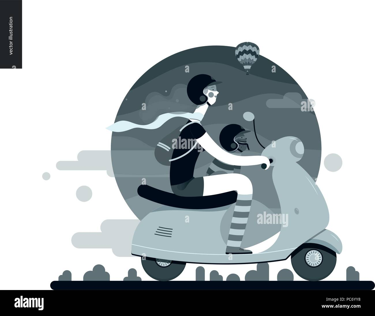 Girl on a scooter - flat black and white vector concept illustration of girl wearing helmet riding scooter, french bulldog on lap wearing small helmet Stock Vector