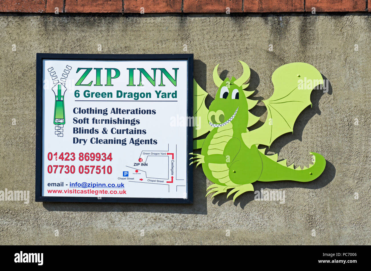 Sign for the Zip Inn, Green Dragon Yard, Knaresborough, North Yorkshire, England UK - Stock Image