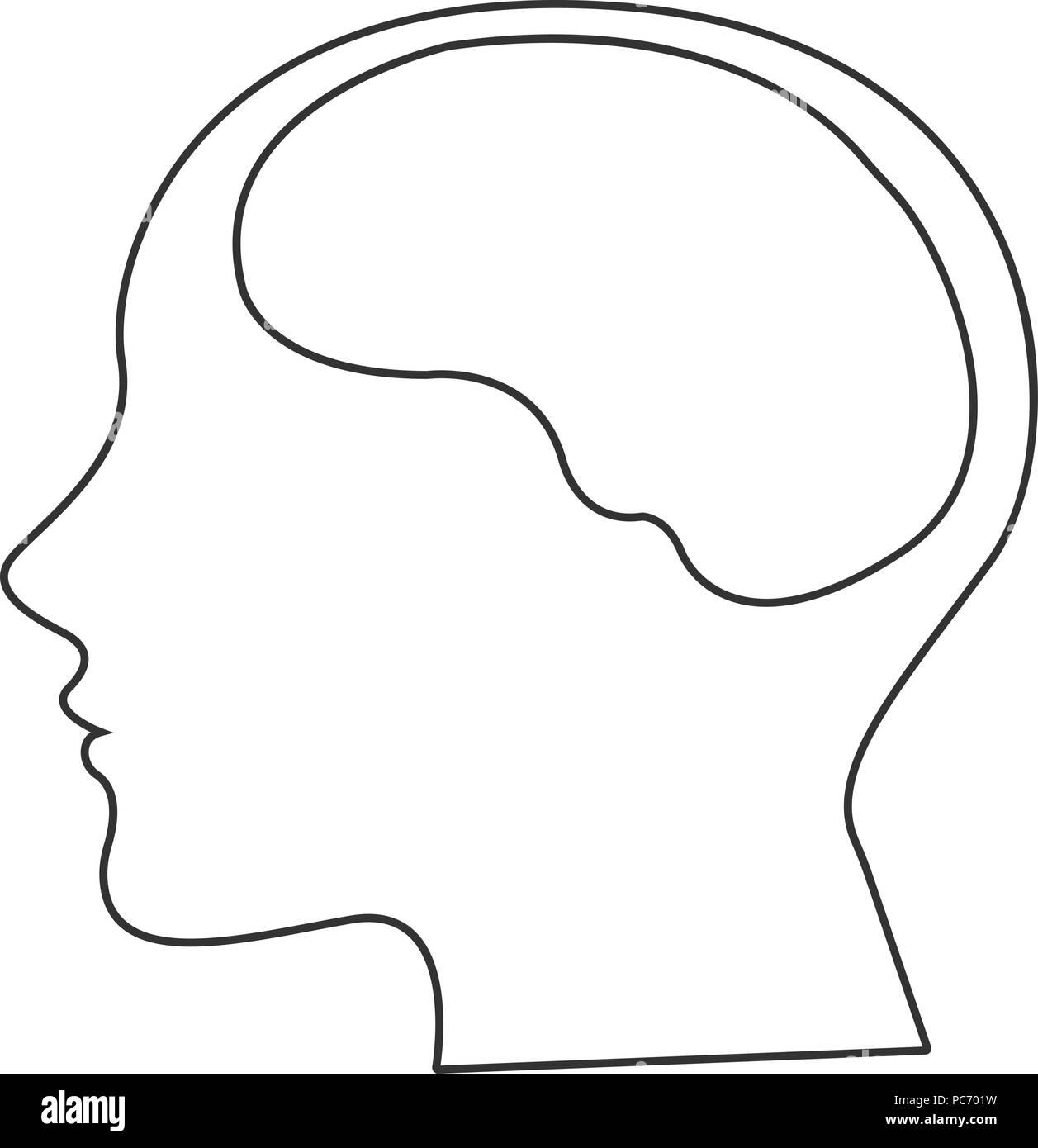 Line icon- brain flat - Stock Image