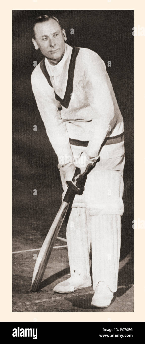 EDITORIAL   Sir John Berry Hobbs, 1882 – 1963, aka Jack Hobbs.  English professional cricketer.  From These Tremendous Years, published 1938. - Stock Image