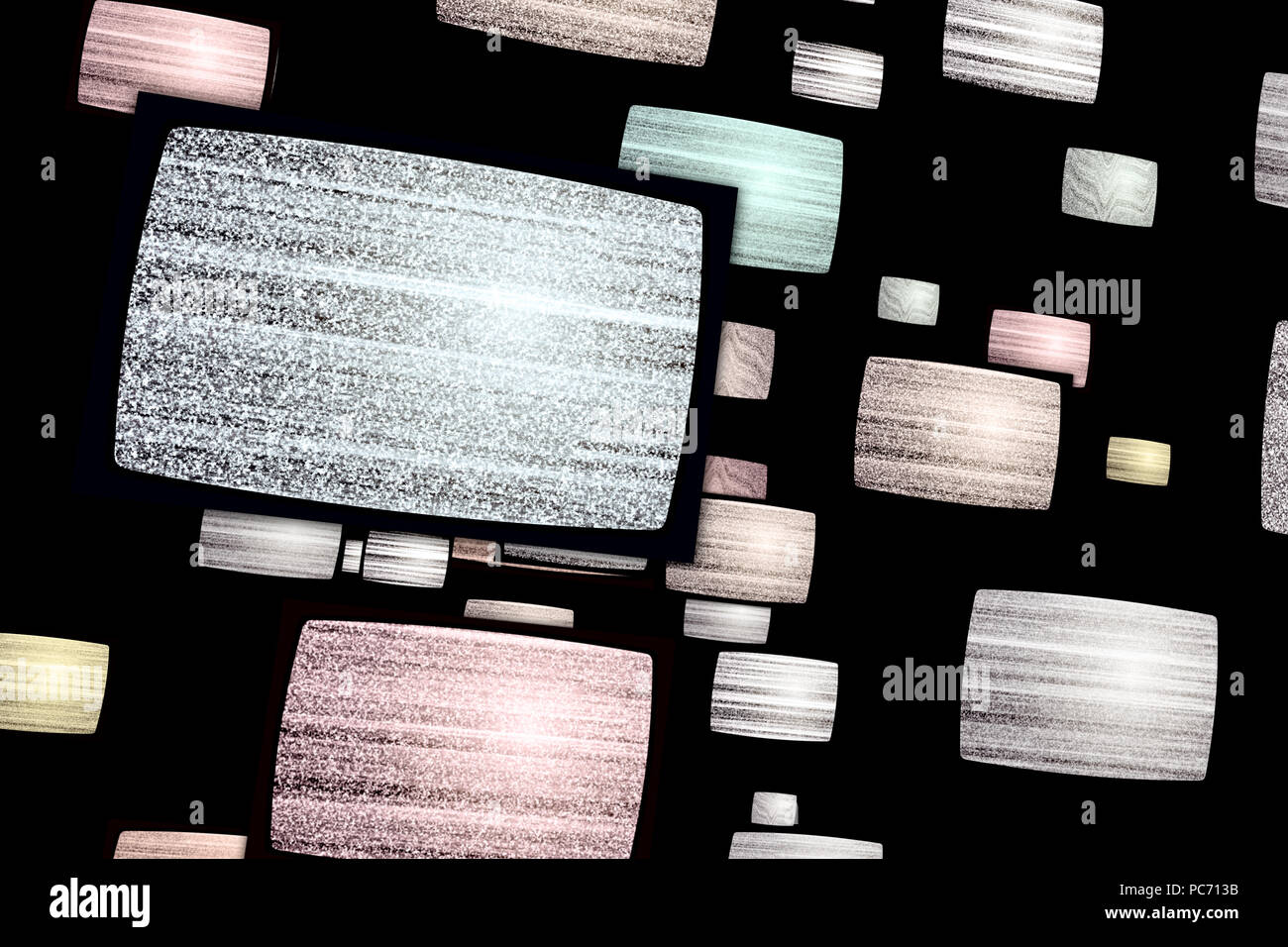 Noise on old tv sets. Flight between snowing television screens with snow and no signal. Displays in abstract concept. - Stock Image