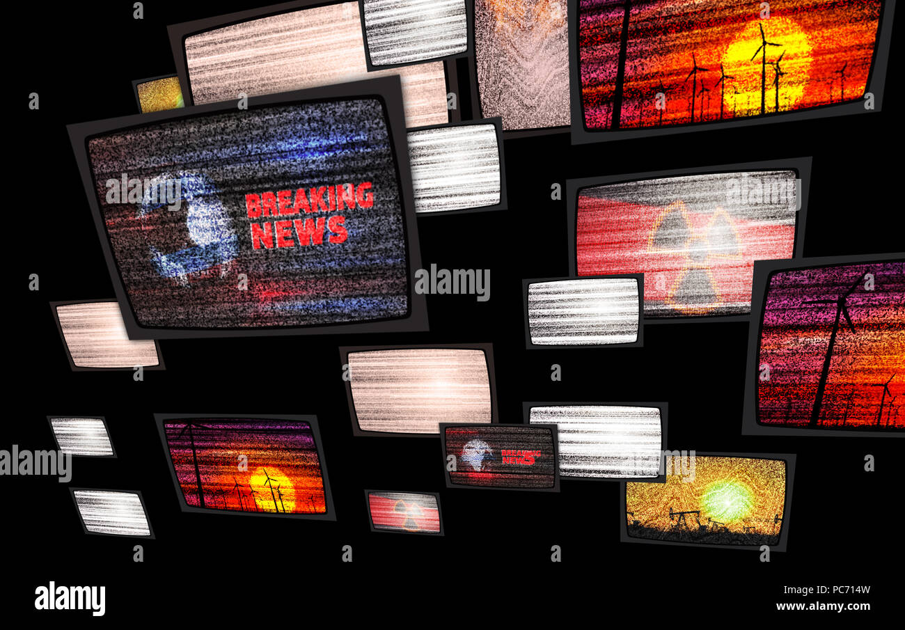 Noise on old tv sets. Flight between television screens with snow and no signal. Television displays in abstract concept and anxiety atmosphere. - Stock Image