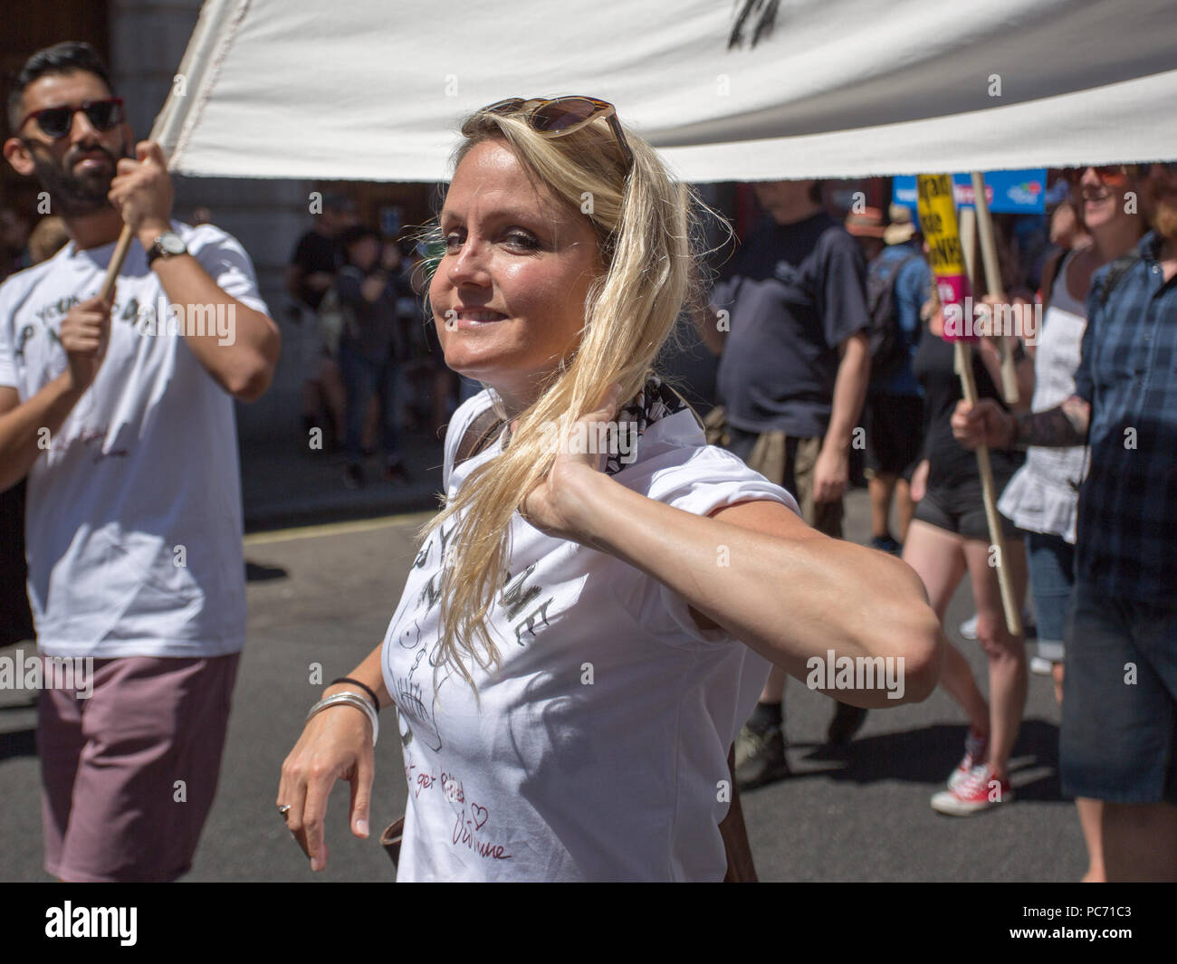 Tens of thousands of people join a huge demonstration to mark the 70th anniversary of the National Health Service.  Featuring: Sally Lindsay Where: London, England, United Kingdom When: 30 Jun 2018 Credit: Wheatley/WENN - Stock Image