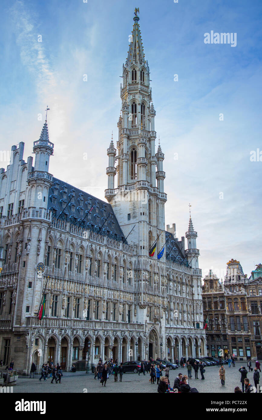 town hall,brussels,grote markt,grand place Stock Photo