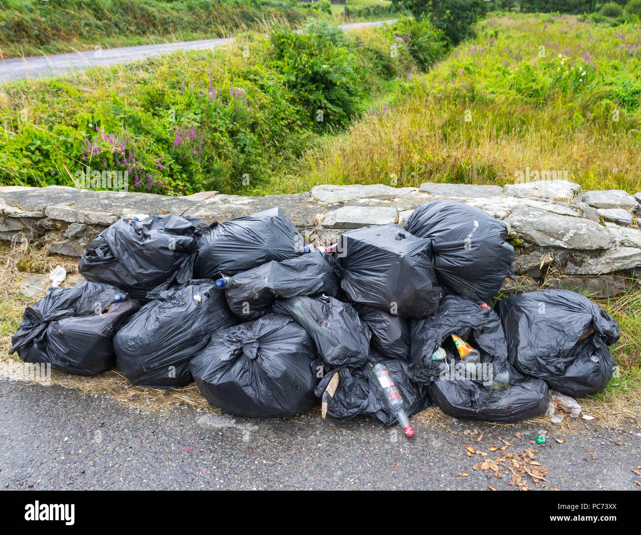 plastic garbage bags filled with rotting rubbish dumped on the roadside. - Stock Image
