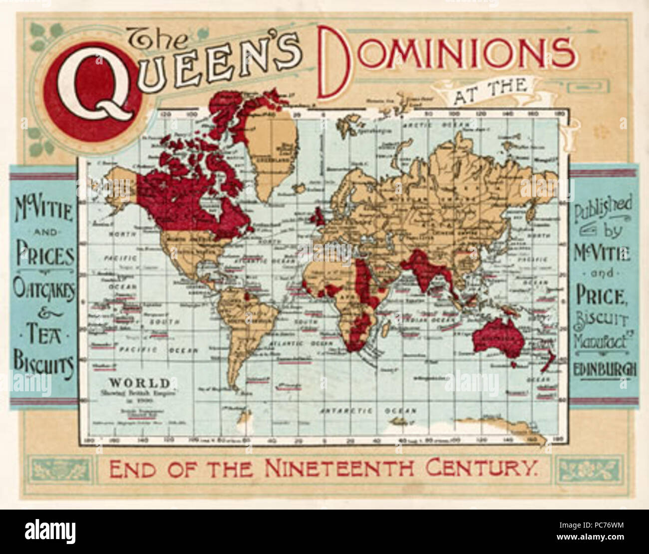 A map of the world, showing  the British Empire coloured  in red at the end of the  nineteenth century.      Date: late 19th century 602 The-queens-dominions - Stock Image