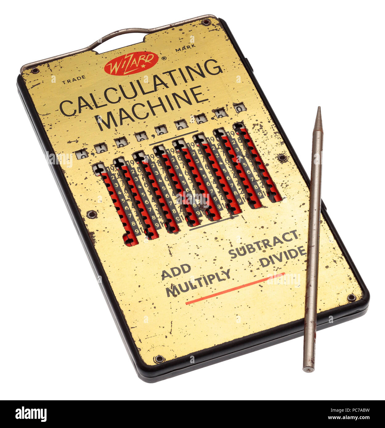 Wizard pocket calculator made in Germany in the 50s - Stock Image