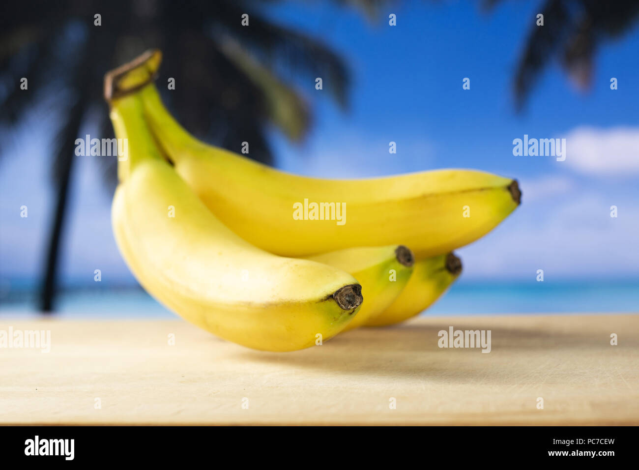 Five Photographs Of Banana In Seach Of >> Group Of Five Whole Fresh Yellow Banana One Cluster With Palm Trees