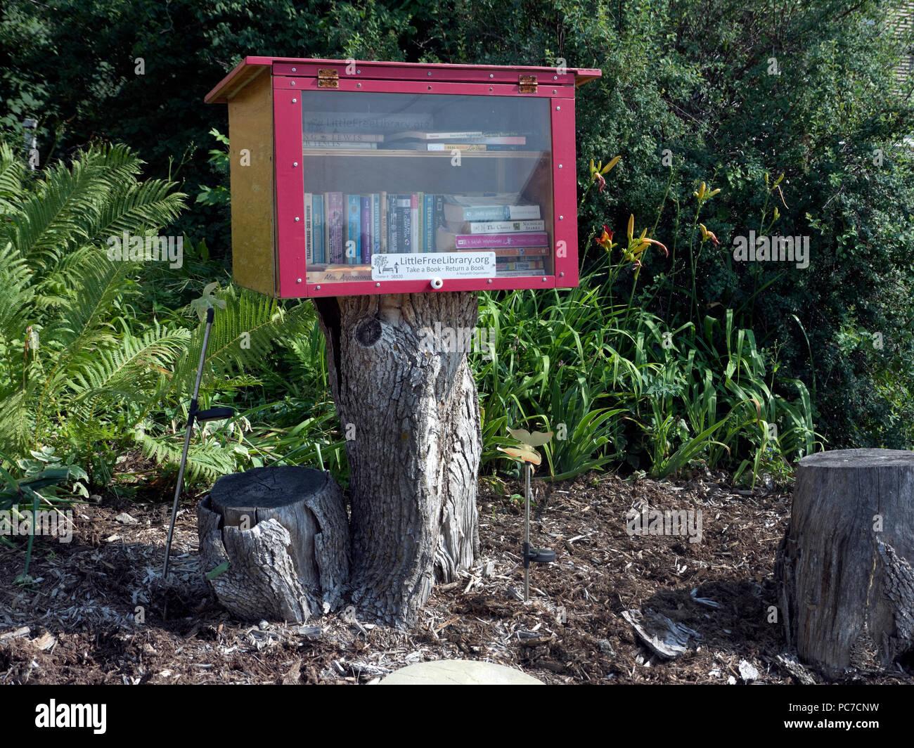 Neighborhood Library, or Little Free Library book exchange, Whitelaw, Wisconsin - Stock Image