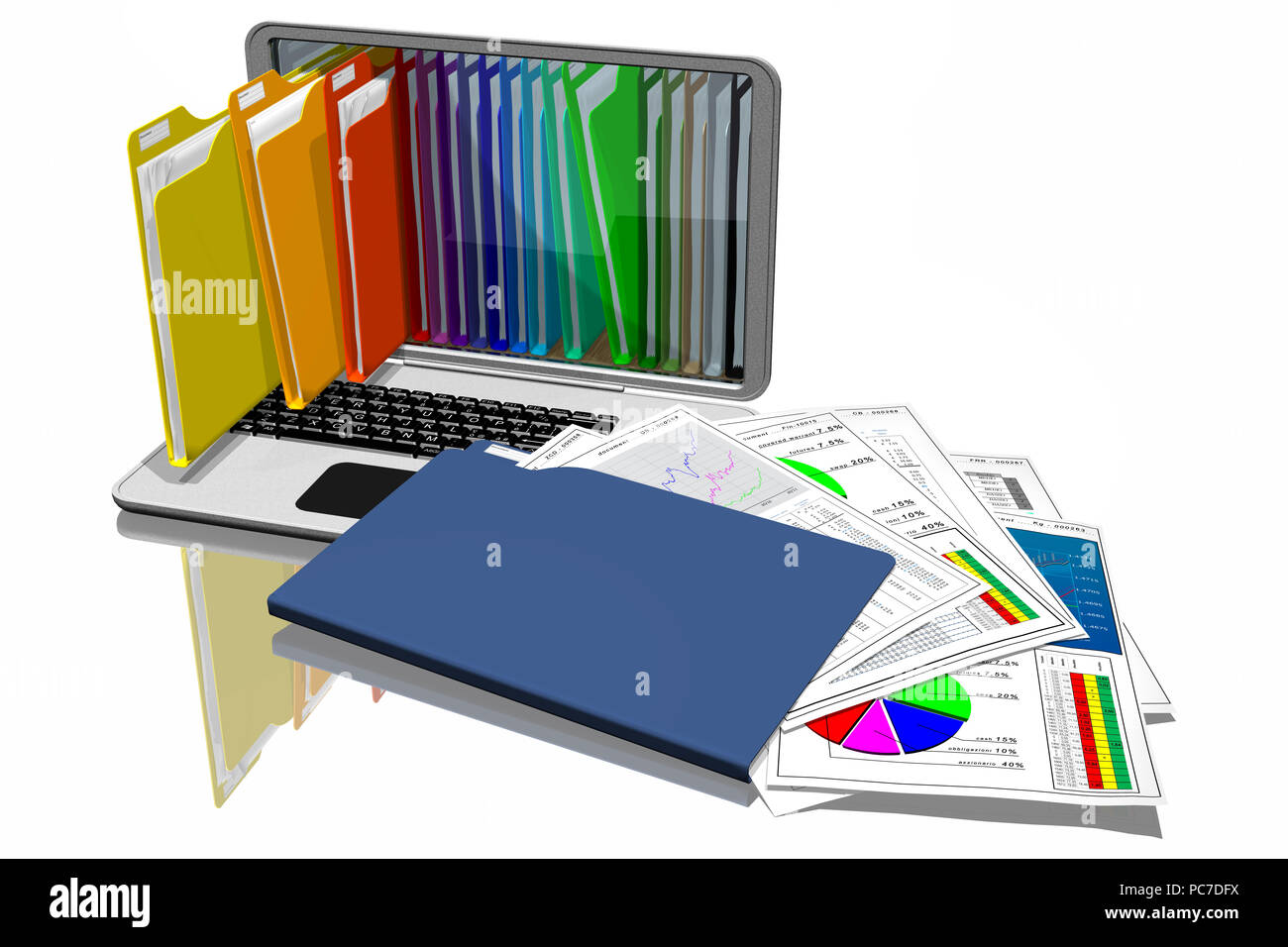 Computers with colored folders for storing documents. Database. - Stock Image