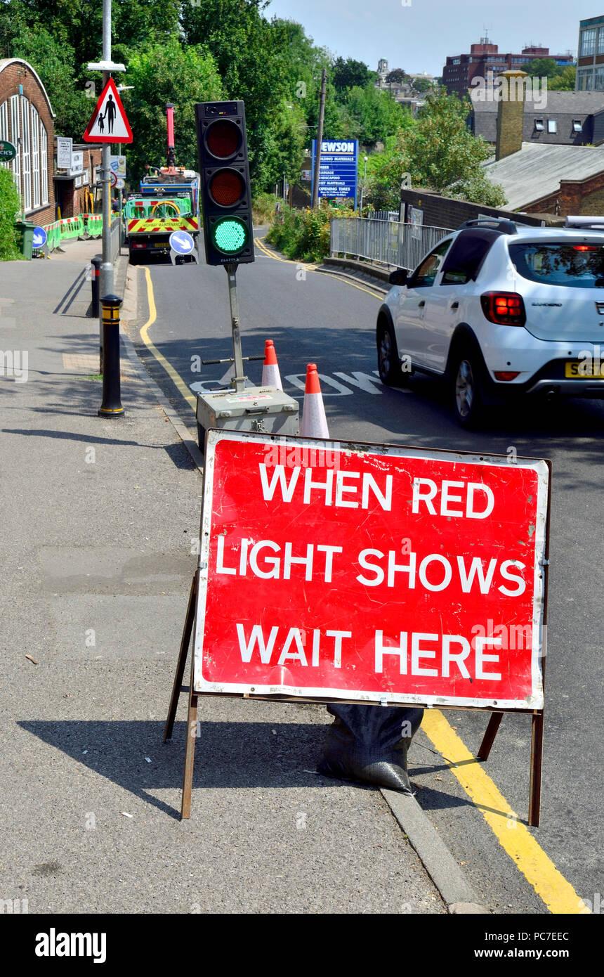 Temporary traffic lights, Maidstone, England. - Stock Image