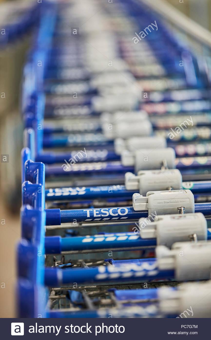 Shopping cart detail. Tesco Extra, Crewe, Crewe, United Kingdom. Architect: N/A, 2018. - Stock Image