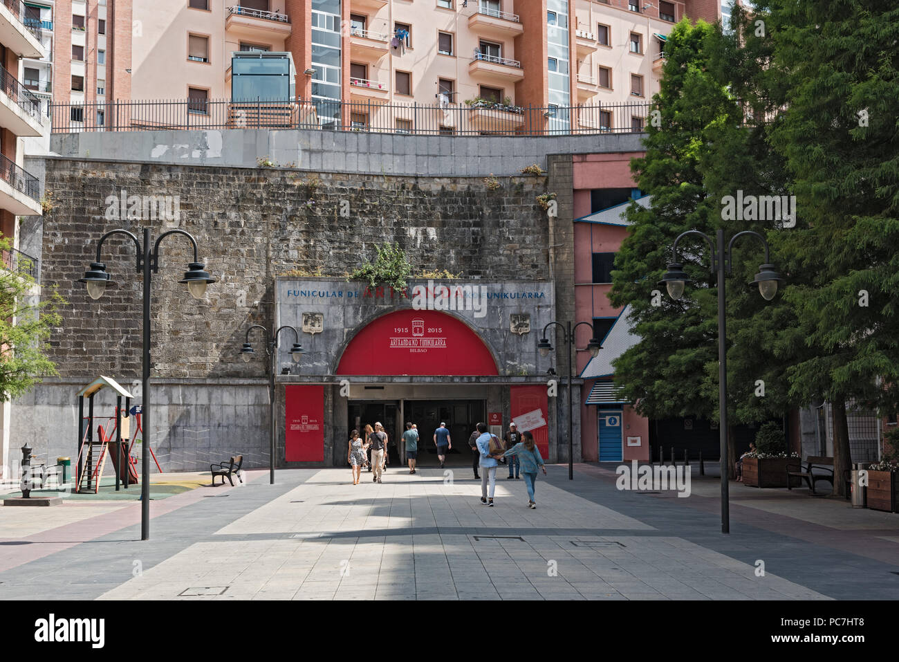 input and output of the artxanda funicular, bilbao, spain. - Stock Image