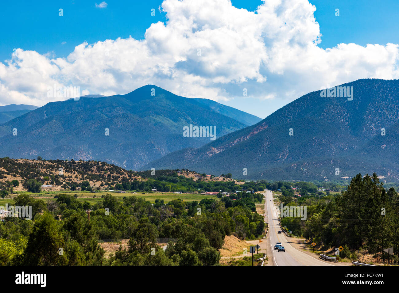 Questa Nm Usa 8 July 18 Highway 38 Runs Into The Mountain Town Of