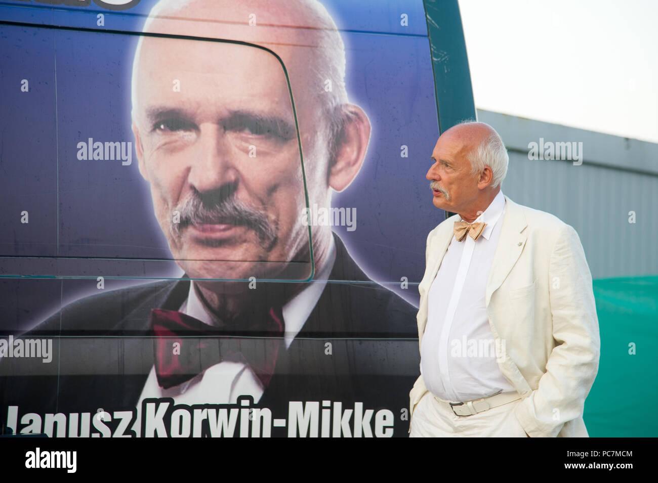 Janusz Korwin Mikke, leader of Wolnosc party (Liberty Party) in Gdynia, Poland. July 27th 2018 © Wojciech Strozyk / Alamy Stock Photo - Stock Image