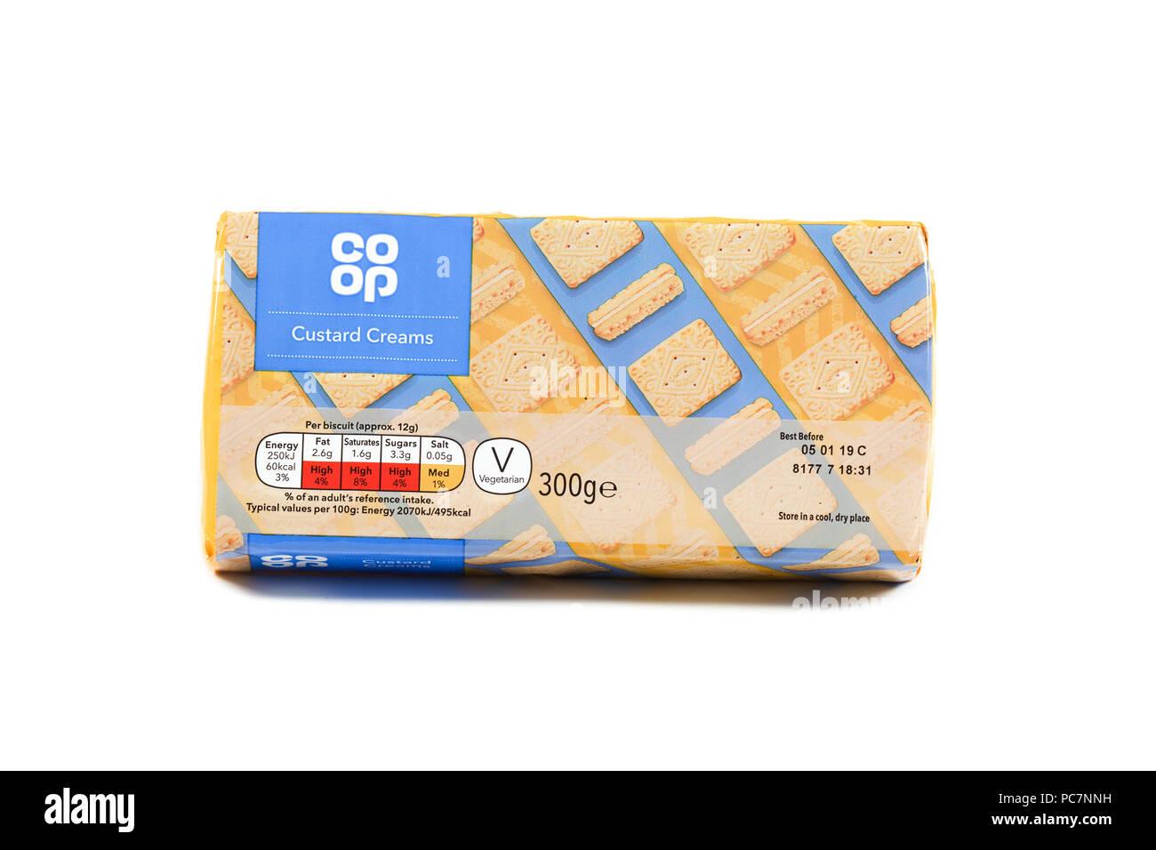 co-operative pack of custard cream biscuits Stock Photo