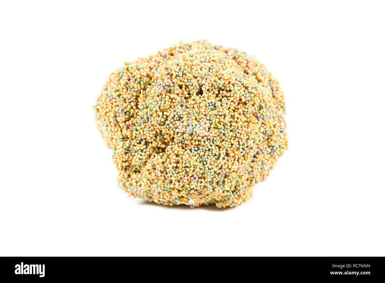 Round sculpted ball of playfoam on isolated white background - Stock Image