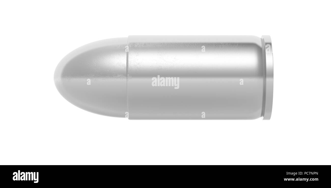 Silver bullet isolated cutout on white background. 3d illustartion - Stock Image