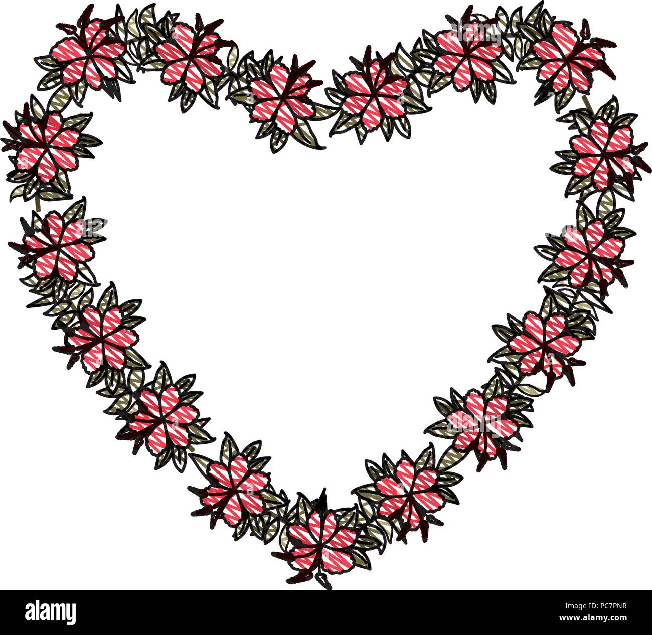 beautiful flower and leafs heart shaped frame Stock Vector Art ...
