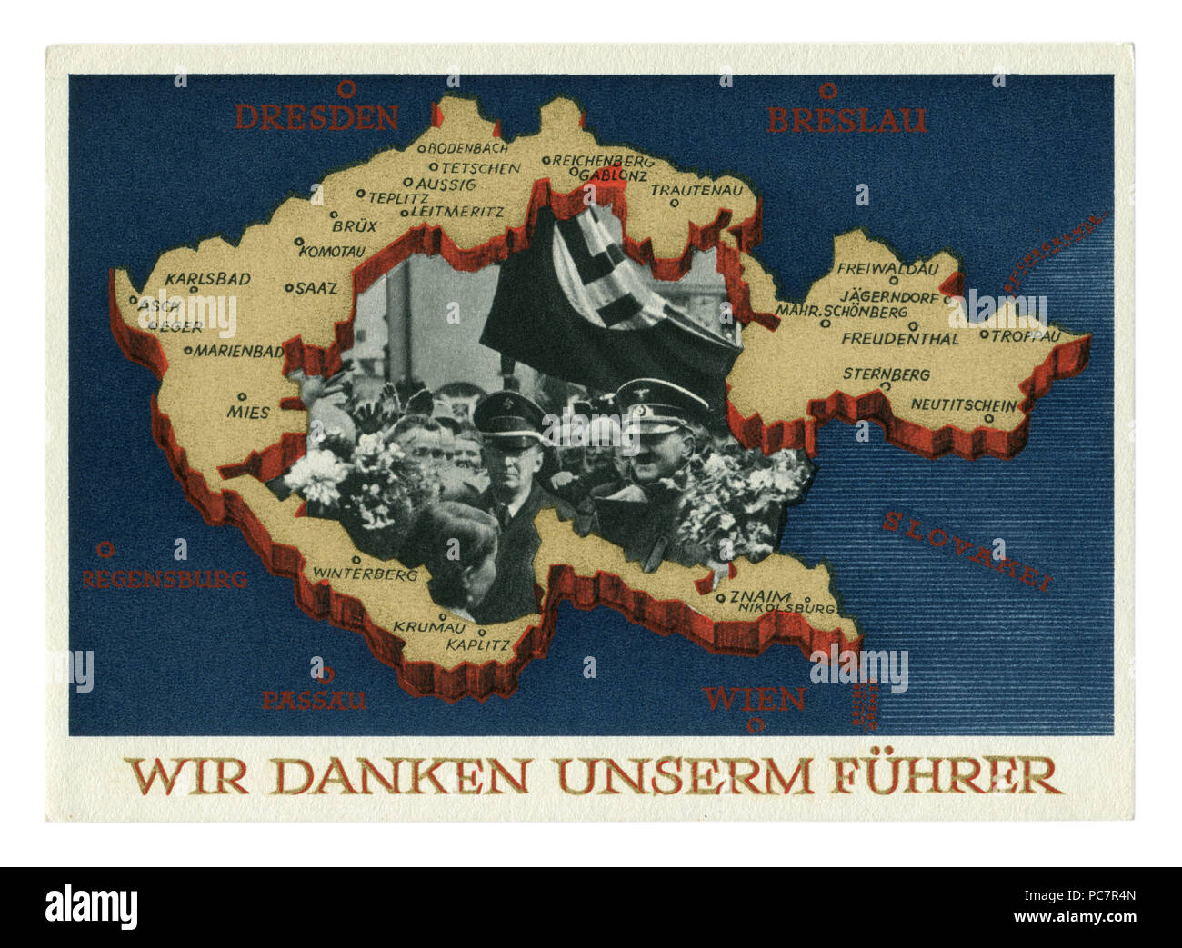 German historical postcard: Plebiscite on the accession of the Sudetenland. Annexation of portions of Czechoslovakia. 29 September 1938, Germany - Stock Image