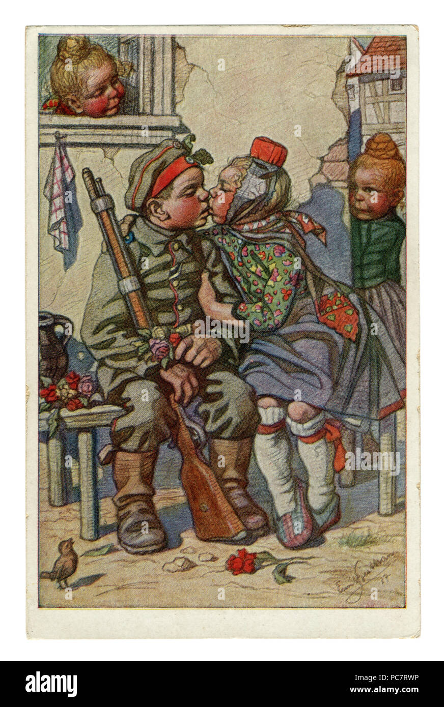 German historical postcard: Children as adults: the soldier returned to his girlfriend from the front with an iron cross. Artist Beithan Emil, wwi - Stock Image