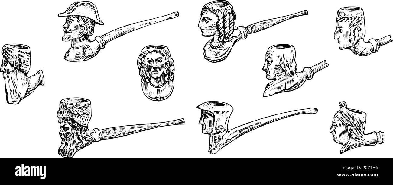 Vintage smoking pipe. Antique prehistoric tobacco for an elegant gentleman. Heads and faces of different people. Engraved hand drawn in old sketch and monochrome style. Stock Vector