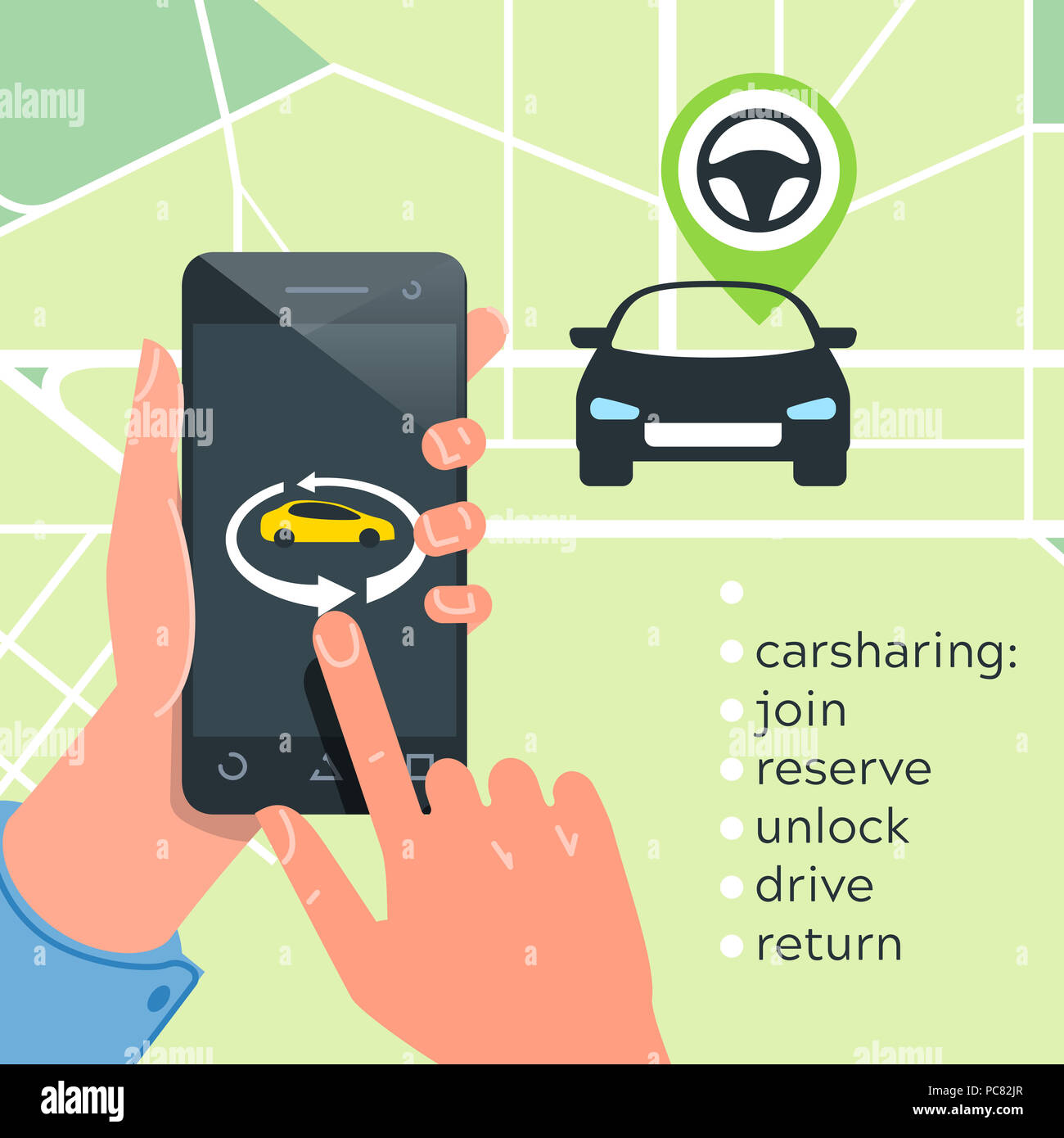 Car Sharing Service Concept Carsharing Renting Car Mobile App