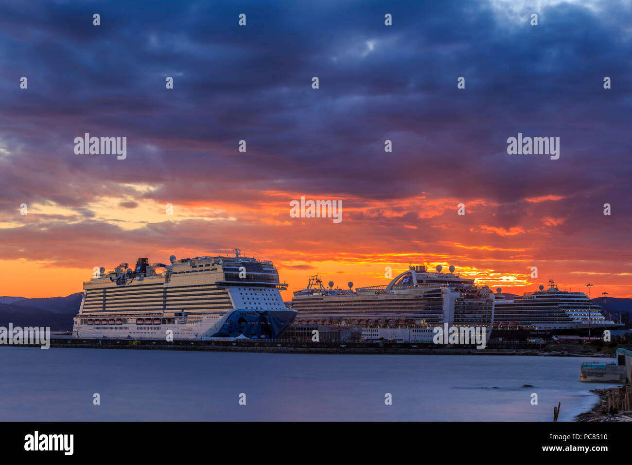 Cruise ships Norwegian Bliss, Ruby Princess, and Eurodam berthed at Ogden Point port-Victoria, British Columbia, Canada. - Stock Image