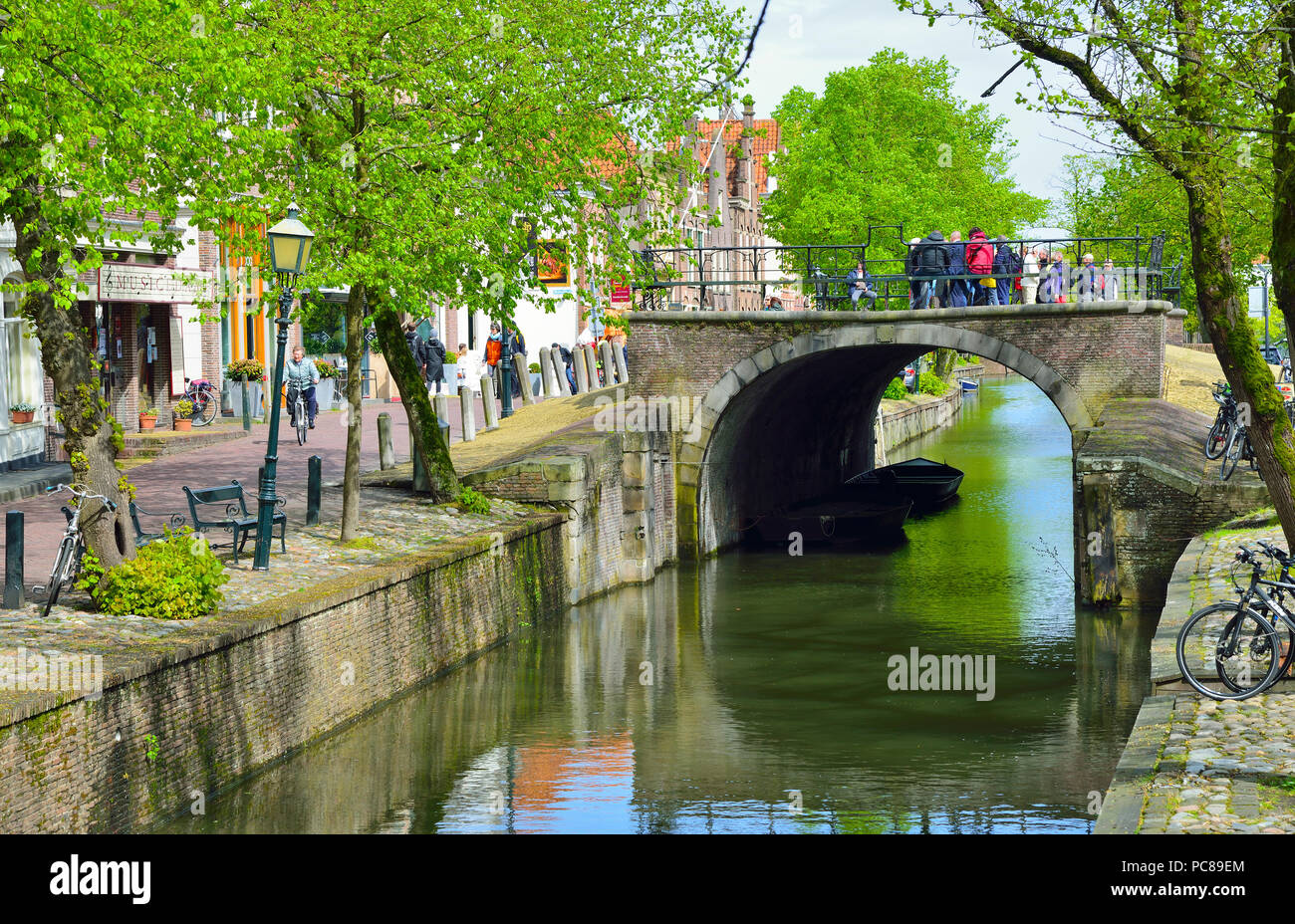 Centre of the Dutch town of Edam in spring a tourist destination in North Holland, The Netherlands - Stock Image