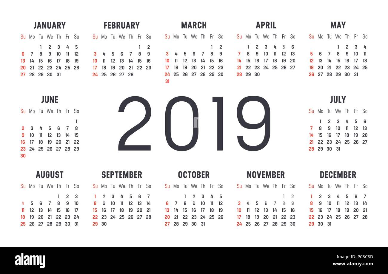 year 2019 minimalist black and red calendar on white background