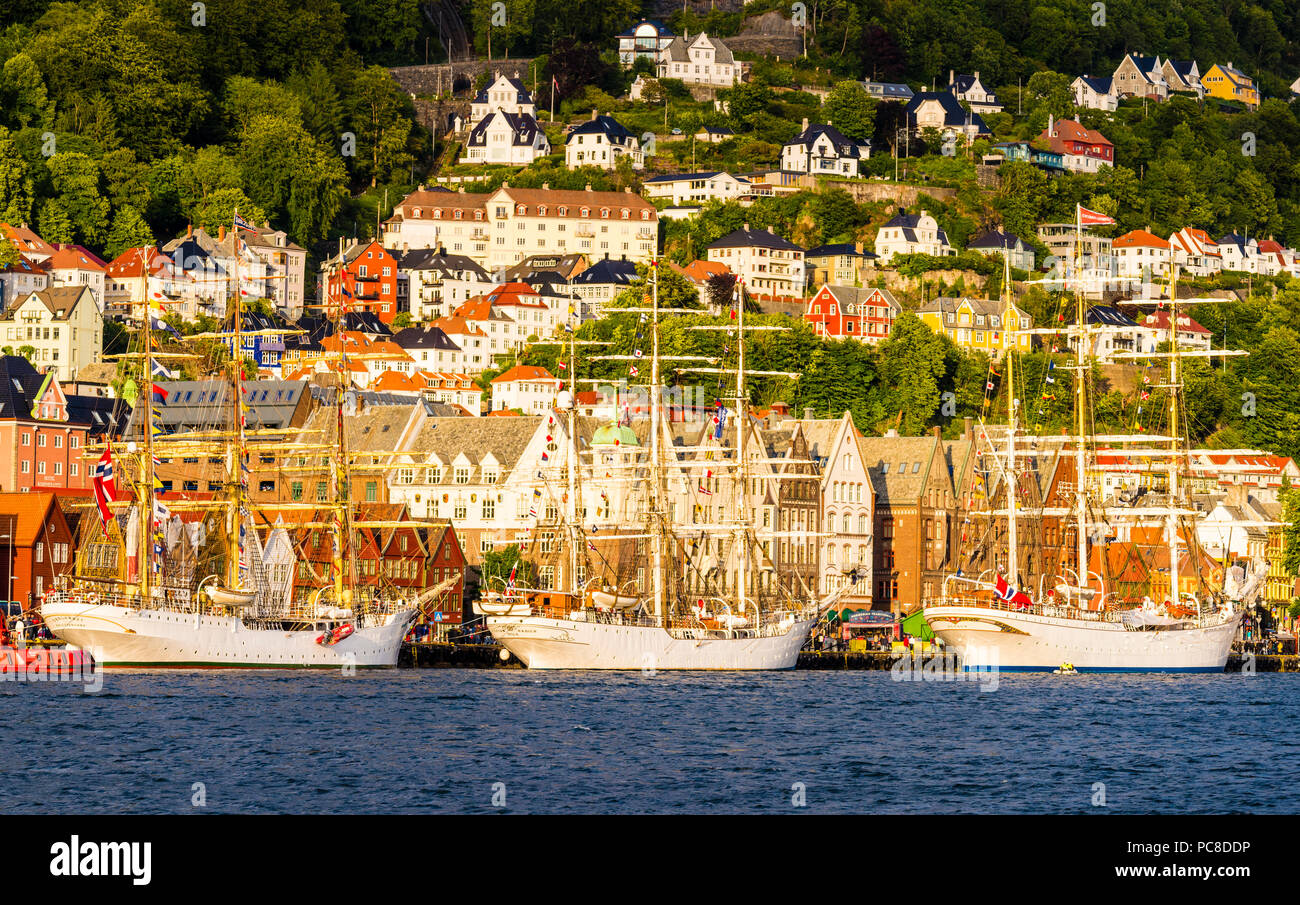 Sailing ship festival in Bergen, Norway - Stock Image