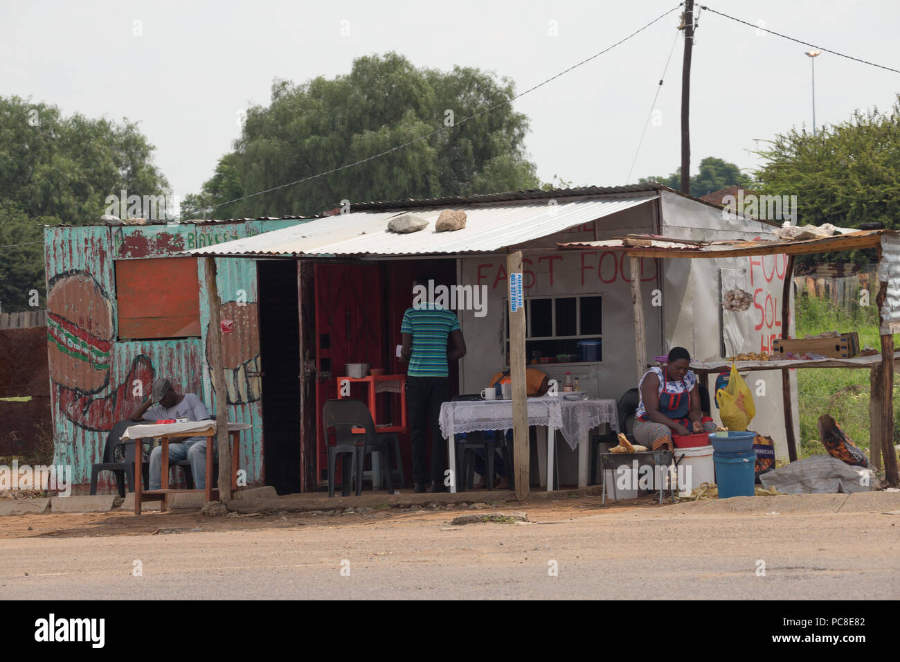 Fast food rural roadside eating place outside Johannesburg, Gauteng, South Africa - Stock Image