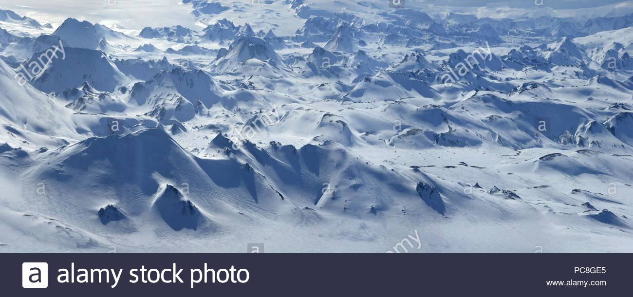 Panorama view from Hekla volcano's cone. - Stock Image