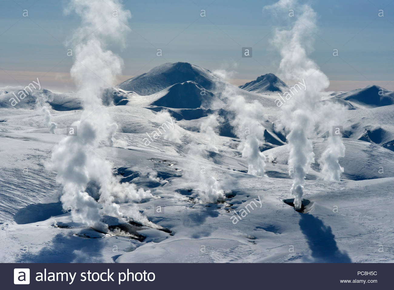 Elevated view of steam vents at Hrafntinnusker Thermal area in Iceland. - Stock Image