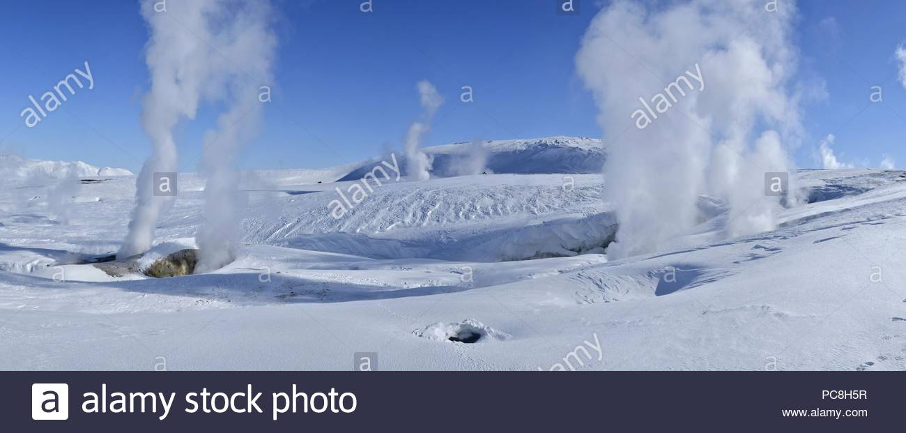 Steam vents at Hrafntinnusker Thermal area. - Stock Image
