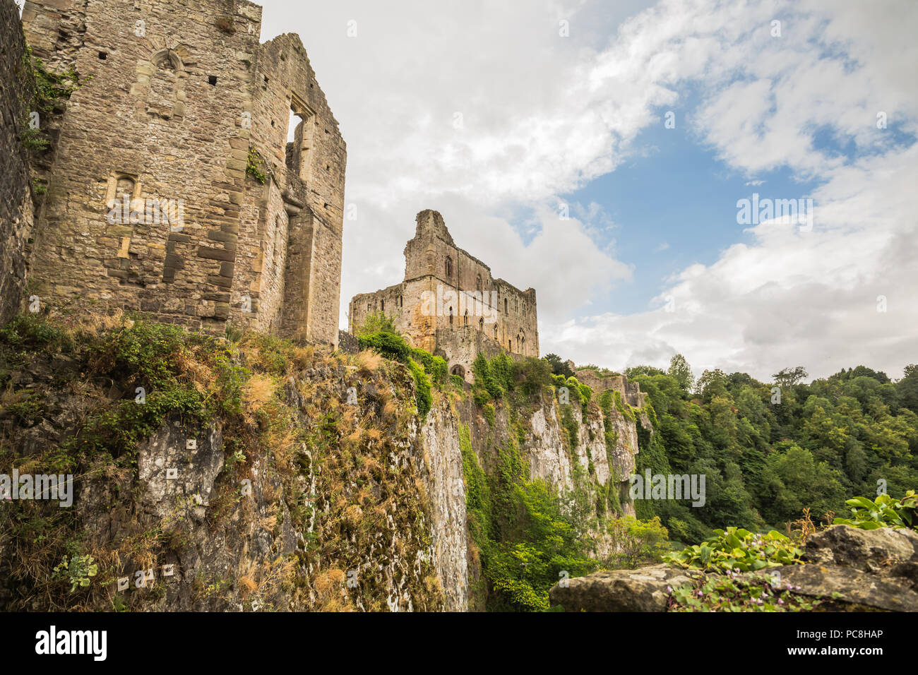 The oldest surviving post-Roman stone fortification Chepstow Castle (Castell Cas-gwent) at Chepstow, Monmouthshire in Wales - Stock Image